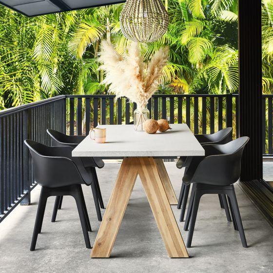 Mantara Dining Table 6 Black Pod Chairs Early Settler Dining Table Dining Table Black Outdoor Dining Set