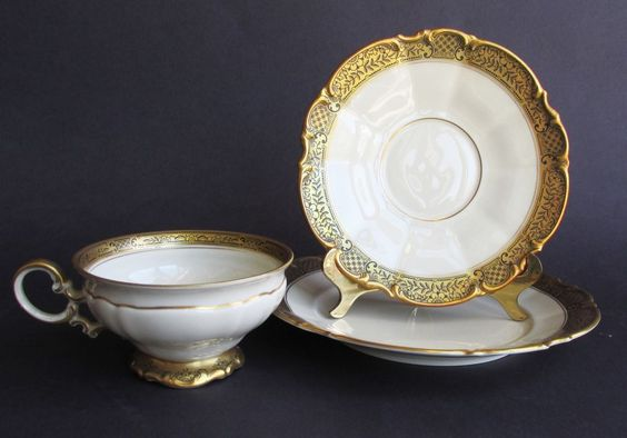 Vintage Hutschenreuther Selb Bavaria Germany LHS China 3 Pieces Teacup & Saucer #HutschenreutherSelbLHS