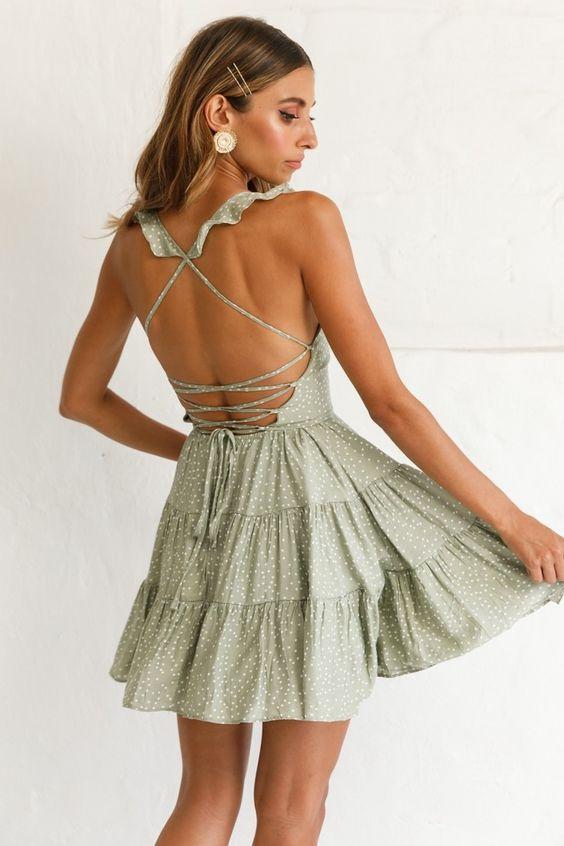 Buy the Allegra Fluted Hem Lace-Up Back Dress Olive | Selfie Leslie