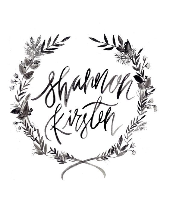 Shannon kirsten wreath logo calligraphy illustration Calligraphy logo