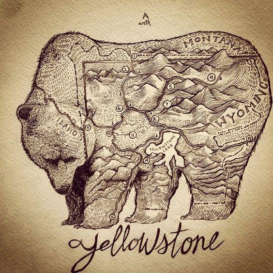 Mapa del parque de Yellowstone dibuja como un oso [640x640] (info artista y versión alterna w / leyenda en los comentarios) HAGA CLIC AQUÍ PARA MÁS MAPAS! Thelandofmaps.tumblr.com