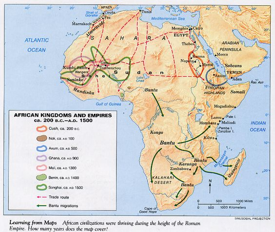 Maps of african kingdoms and general websites pena african african map with trade routes sciox Images