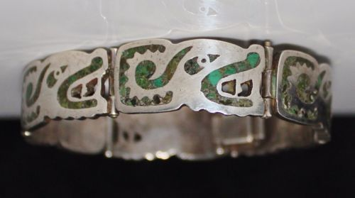 Vintage-Miguel-Melendez-Taxco-Sterling-Silver-Turquoise-Inlay-Serpent-Bracelet