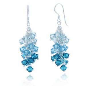 Ocean Blue Cluster Faceted Swarovski Crystal Sterling Silver Dangle Hook Earrings for women 1.5' Price: $27.99