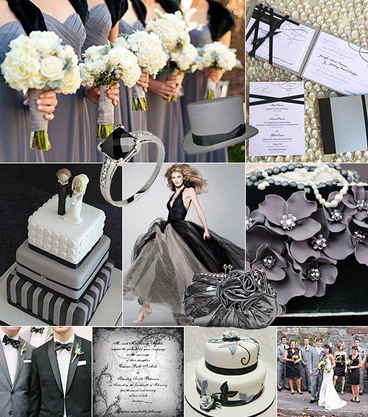 Svart-silver/grått färgtema på bröllop / Color theme: black, silver/grey