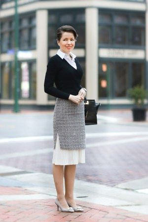 smart tweed skirt with pleated insert , v-neck crop knit top - For more outfit inspiration visit REDRETICULE.COM