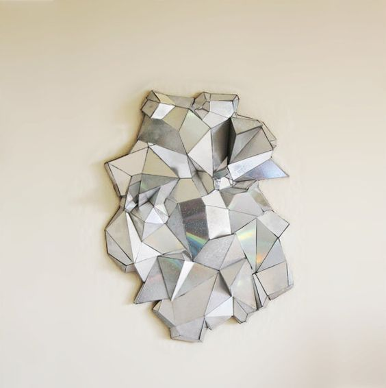 geometric mirror handmade home decor pop art sculpture from recycled materials upcycled broken cd art recycle modern design: