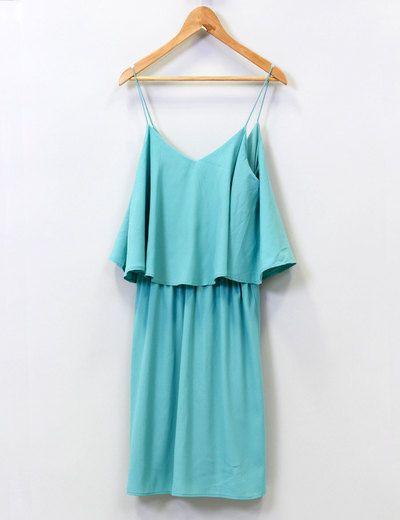 Vestido volante azul turquesa Suiteblanco