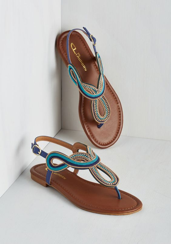 The Whole Stride Swirled Sandal. Do some earthly exploring with unparalleled flair in these expertly detailed sandals from CL by Laundry! #blue #modcloth