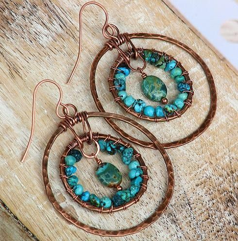 Artisan Turquoise Earrings Southwest Hammered Copper Double Hoop