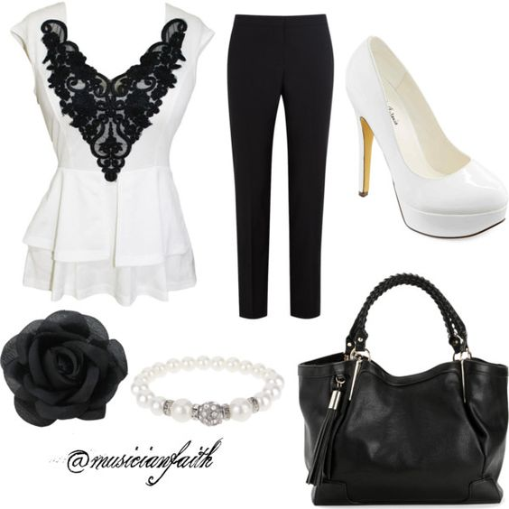 Business Attire #3 by musicianfaith on Polyvore featuring polyvore, mode, style, Paul Smith Black Label, Michael Antonio, Dorothy Perkins, white, black, flower, lace and blackandwhite
