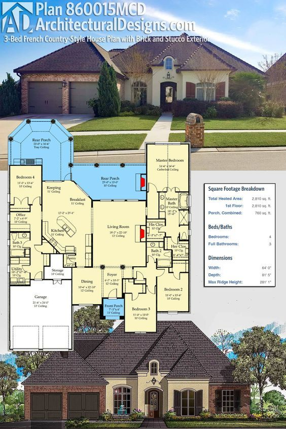 Plan 860015mcd 3 Bed French Country Style House Plan With Brick And Stucco Exterior Country Style House Plans House Plans Dream House Plans