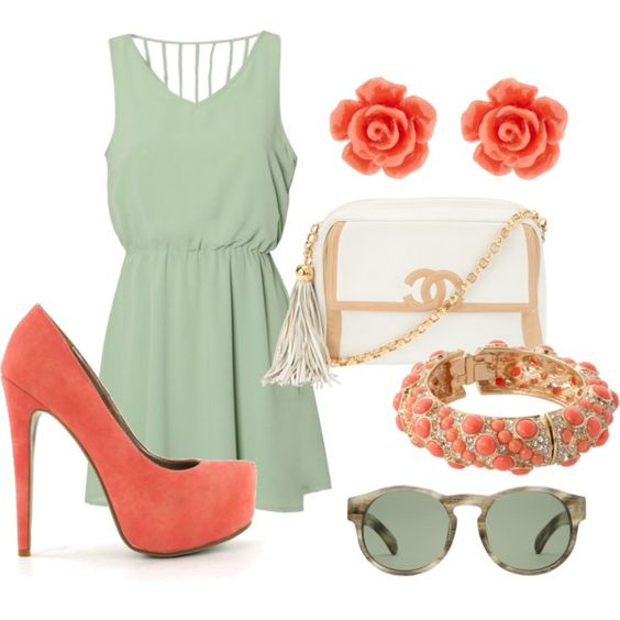 love these colors: Teal Outfit, Casual Date Outfits, Color Combination, Coral Color, My Style, Coral Springtime