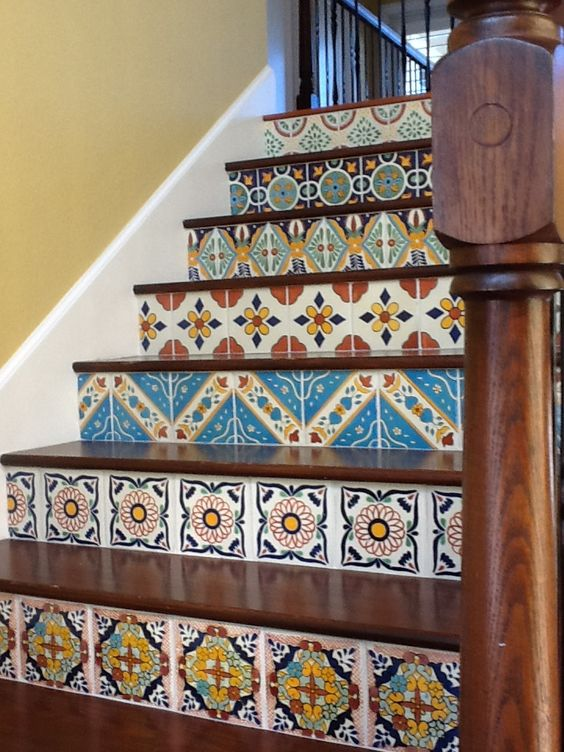 Hacienda style mexican tile stair risers inspiration for Spanish decorative tile