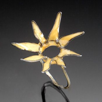 """Jennifer Hall: Starlight, Ring in steel wire, epoxy, and pigment. Approx. 1.25 x 1.25 x 1.25"""""""