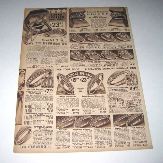 Vintage 1930s Sears Roebuck Catalog Page Of Women 39 S Diamond Engagement Wedd Vintage Engagement Wedding Rings Beautiful Wedding Rings Diamonds Vintage 1930s