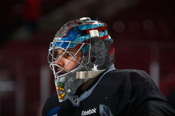 Corey Crawford with a special helmet design.