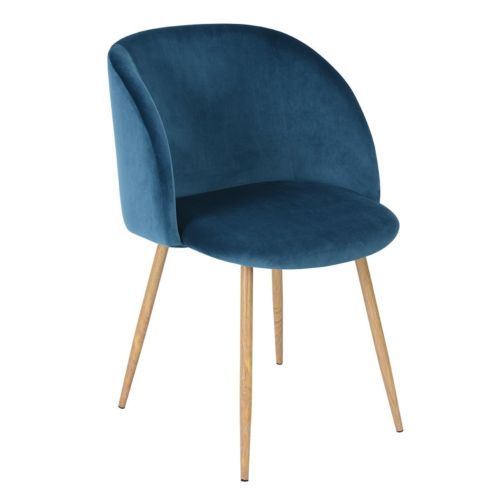 Scandinavian Style Velvet Dining Chair Accent Armchair with Solid Wood Legs Seat
