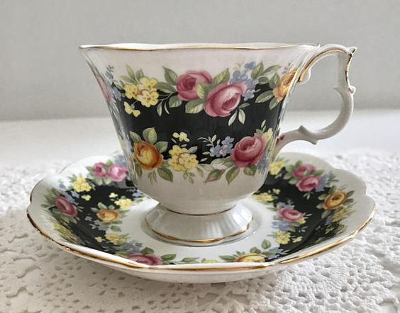 Vintage china tea cup and saucer made by Royal Albert in England, part of the Garland Series in the Fascination pattern. It is in good condition, no chips, cracks or crazing. Please Note: The items I sell are not new, they are vintage or antiques, it goes without saying that