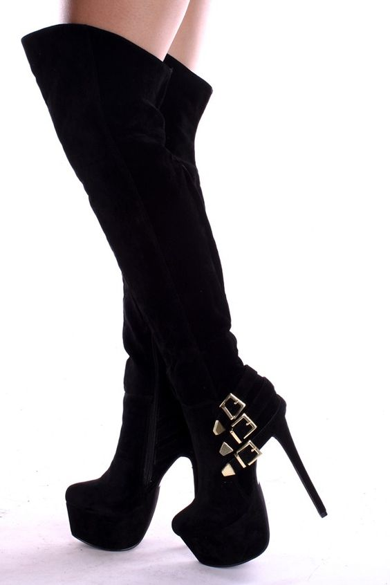 BLACK OVER THE KNEE FAUX SUEDE 6 INCH STILLETO HEEL PLATFORM BOOTS ...