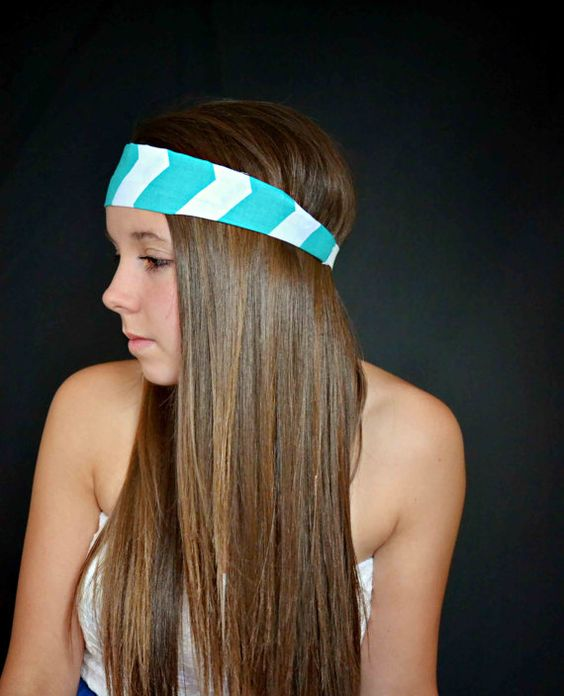 Chevron turquoise and white headband hippie by TopKnotAccessories, $21.99