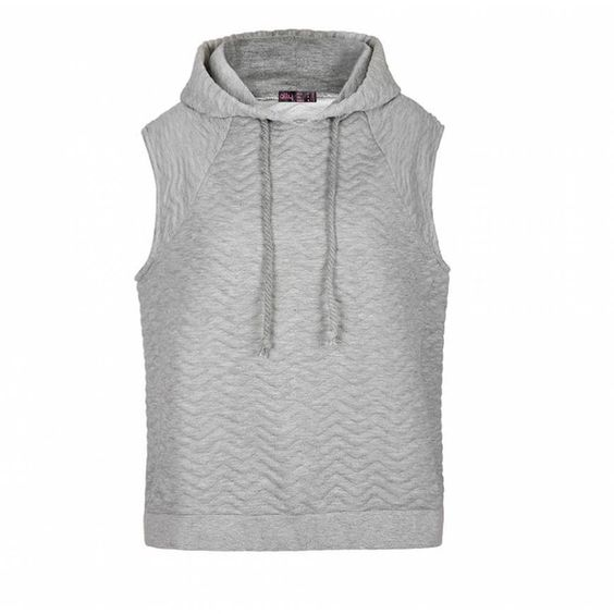 Ally Fashion Quilted chevron sleeveless hoodie (€16) ❤ liked on ...