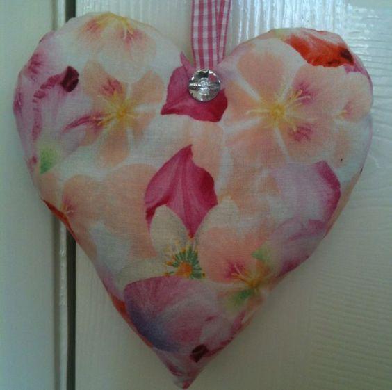 Michael Miller Fabric Pink Petals Fabric Heart Lavender Bag- Handmade