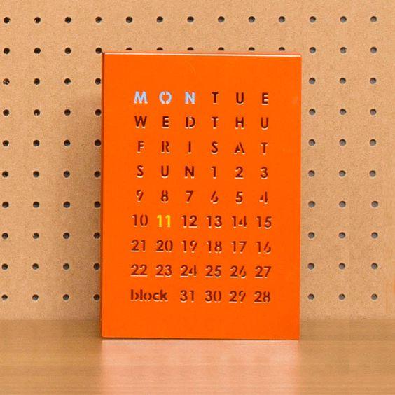 magnetic perpetual calendar, orange by block design   notonthehighstreet.com