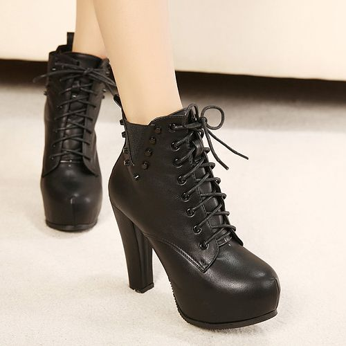 Lace Up Black Chunky Heel Rivets De | Lace, Chunky boots and Lace ...