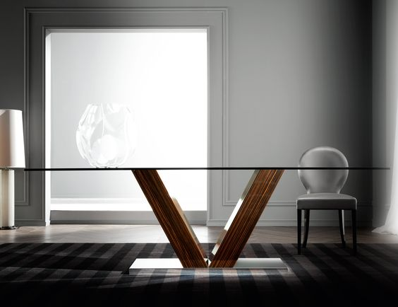 Vanity 9161 Italian designer dining table handmade and shown in wood. This luxury Italian furniture collection features a wide selection of finishes including beech, ebony and various lacquered colors. Samples available upon request. Made in Italy.