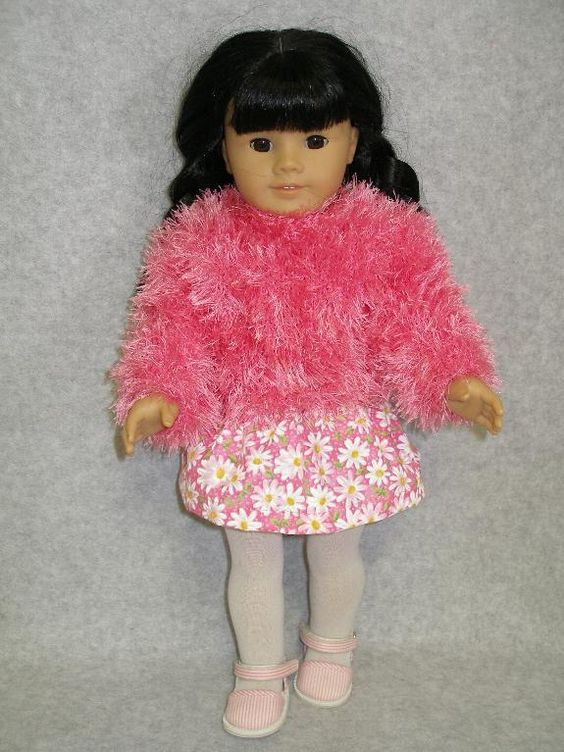 (6) Name: 'Knitting : Fluffy Sweater Doll knitting pattern