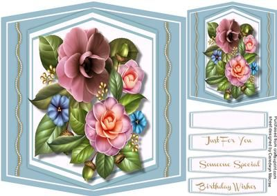 Beautiful Camellias and Twisted Pearls  on Craftsuprint designed by Ceredwyn Macrae - A lovely card to make and give to anyone with Beautiful Camellia's and twisted pearls has three greeting tags and a blank one ,  - Now available for download!