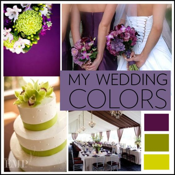 Purple and green wedding theme, created by coleandkia on Polyvore: Wedding Colors Purple, Purple And Green Wedding Theme, Purple And Lime Green Wedding, Eggplant And Green Wedding, Green Colors, Green Wedding Themes, Green Weddings