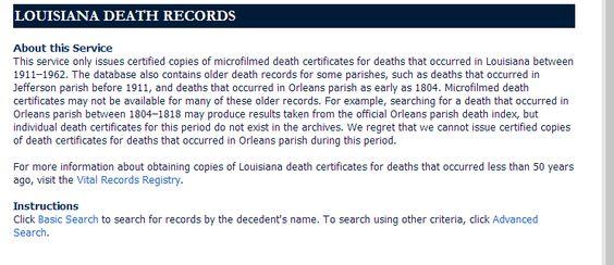 Louisiana Death Records | Louisiana Genealogy Resources | Pinterest ...