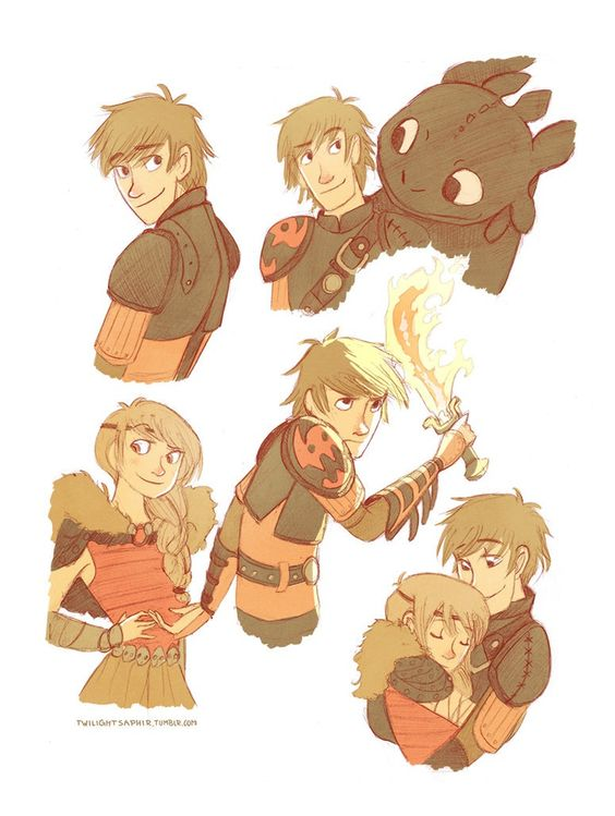 Hiccup, Astrid, and toothless