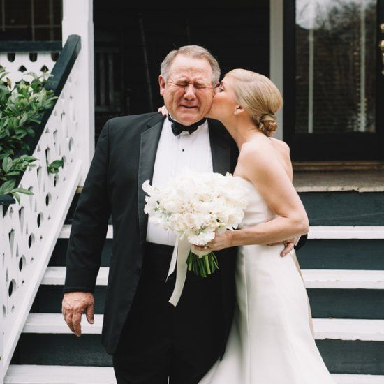 Charleston Bride's touching moment with her father before walking down the aisle. Classic Southernnavy and white wedding