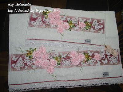 LOY HANDCRAFTS, TOWELS EMBROYDERED WITH SATIN RIBBON ROSES: Jogo de toalhas Karsten,delicadamente bordadas com...