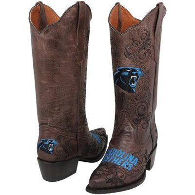 Carolina Panthers Womens Embroidered Cowboy Boots - Brown ...