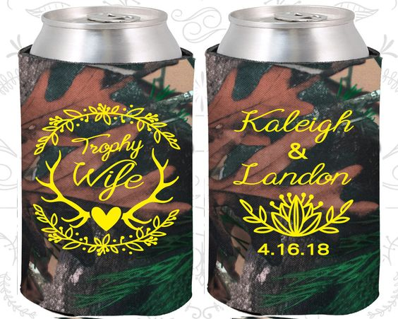 Trophy Wife, Wedding Party Gifts, Floral Wedding Gift, Antler Wedding Gift, Deer Antler Wedding Gift, Can Koozies (475)