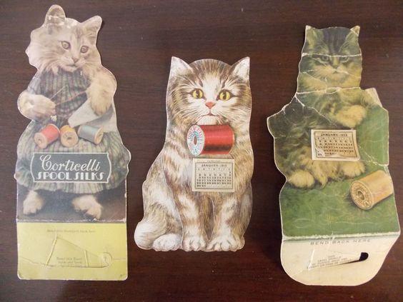 3 Corticelli Calendars Silk Thread Kitten Diecut Stand Up Victorian 1910, 1922,