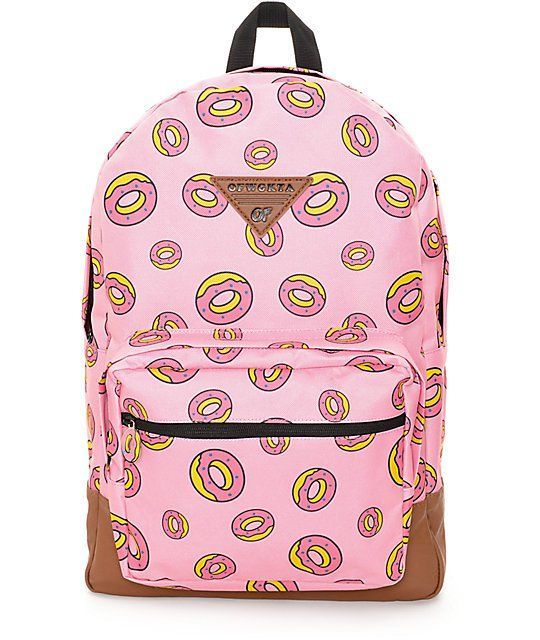If you're looking for ample storage and OFWGKTA style, look no further than the Donut pink backpack from Odd Future. This pink colorway features the signature pink frosted donut logo printed throughout and lined with a donut print fabric as well.: