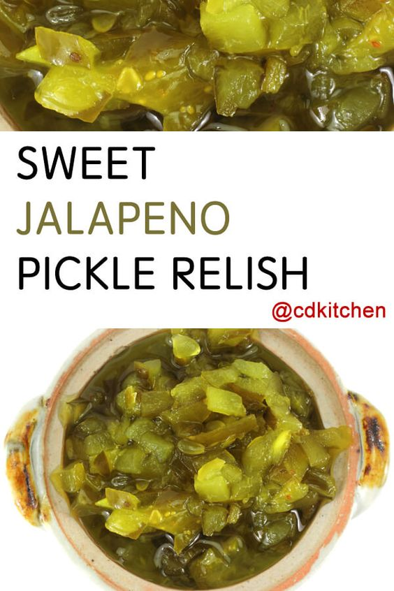 Made with jalapeno pepper, cucumber, onion, salt, sugar, cider vinegar, pickling spice   CDKitchen.com