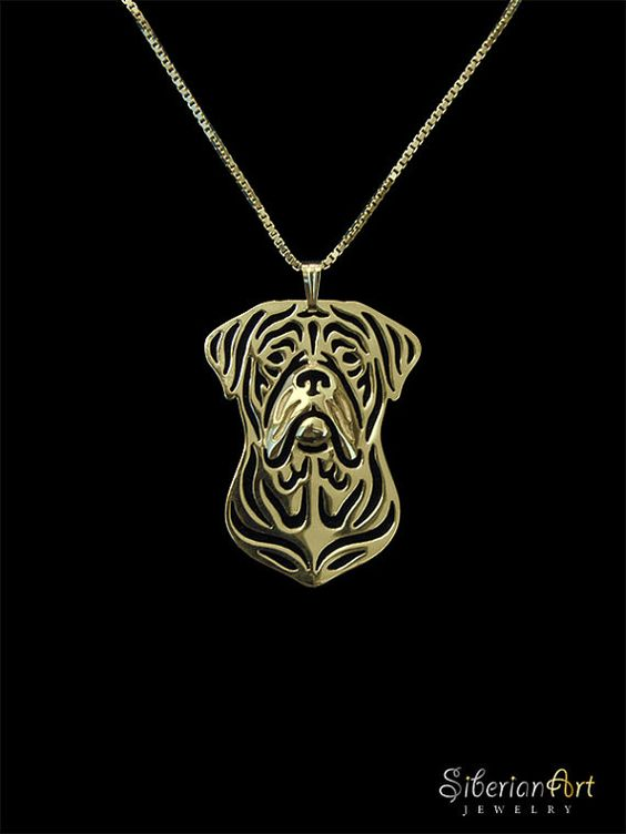 Dogue de Bordeaux jewelry - gold vermeil (18k gold plated sterling silver) pendant and necklace.