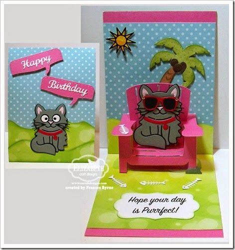 Karen Burniston January Designer Challenge Day 1 created by Frances Byrne using Whiskers the Cat; Beach Chair Pop Up; Palm Tree & Pail; Beach Edges; Props 1; Props 4 – Pets; Rectangle Accordion; Katie Label Pivot Card – designed by Karen Burniston for Elizabeth Craft Designs; Happy Birthday (717) – Elizabeth Craft Designs