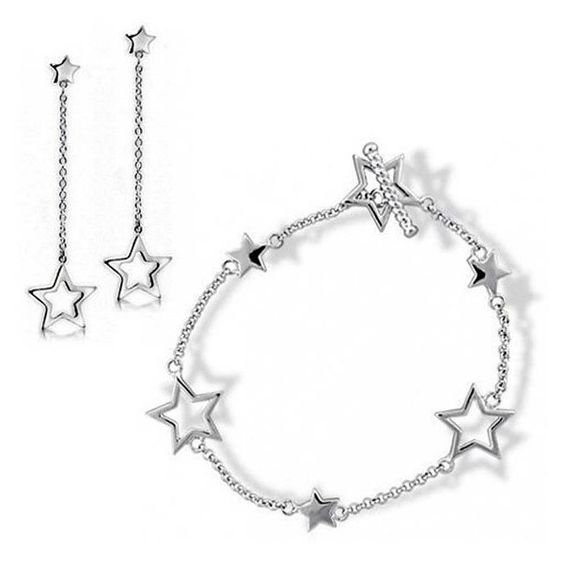 Bling Jewelry Patriotic 925 Silver Stars Toggle Bracelet and Drop... ($41) ❤ liked on Polyvore featuring jewelry, earrings, silver tone, sterling silver earrings, star bracelet, pandora bracelet, star charms and chain earrings