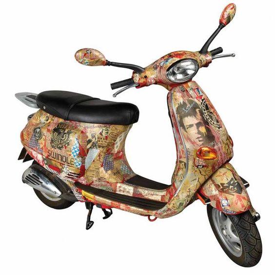 Automobiles : Shepard Fairey - Decoupage on Vespa ET2 scooter | Blouin Boutique | Doyle New York