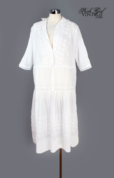 1920's White Embroidered Cotton Flapper Era Dress - M/L $284.99 Vintage Dresses