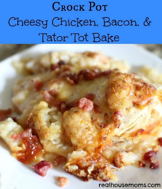 Crock pot cheesy chicken bacon tater tot bake recipe for Fish crock pot recipes