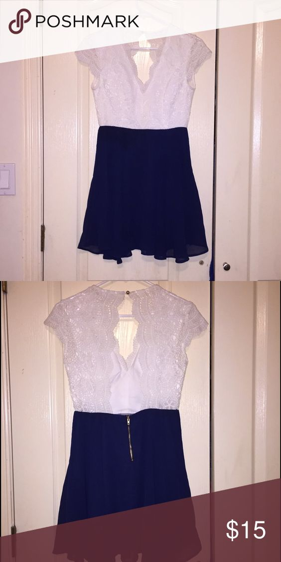 Cute sophisticated dress !!! White lace top attached with an old navy skirt and open back ! Dresses Mini