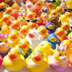 """A Unique Rubber Duck for Everyone! Get rubber ducks for every style in this mega rubber duck assortment. Complete your ducky river race, or duck pond carnival game with these assorted style rubber ducks. 100 rubber ducks per box. Assortment may vary. Ducks are approximately 2"""" long, 2"""" wide, and 2"""" tall. Made of rubber. Floats in the position in which the ducky lands or on its side. Does not squeak. These classic rubber ducks are ideal for duck carnival games and river races. ..."""